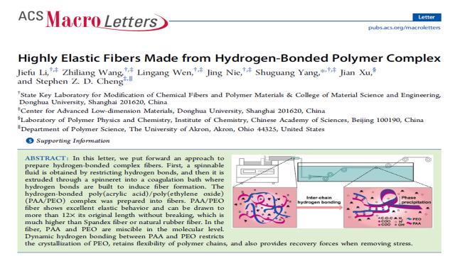 ACS Macro Letters杂志刊发杨曙光教授课题组超弹性氢键复合物纤维研究成果论文